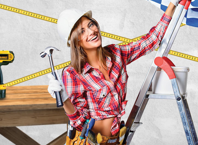 Картинка девушки строители